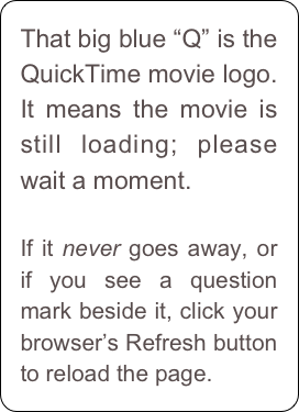 "That big blue ""Q"" is the QuickTime movie logo. It means the movie is still loading; please wait a moment.   If it never goes away, or if you see a question mark beside it, click your browser's Refresh button to reload the page."